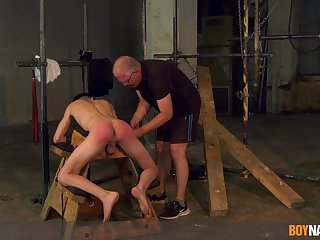 Twink endures old man's cock in brutal BDSM cam play